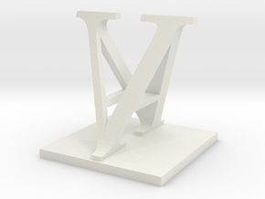 Two way letter / initial A&V in White Natural Versatile Plastic
