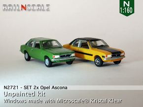 SET 2x Opel Ascona B (N 1:160) in Smooth Fine Detail Plastic