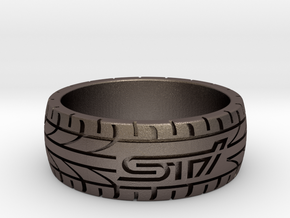Subaru STI ring - 19 mm (US size 9) in Polished Bronzed Silver Steel