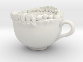 Large Teeth Tea Mug in White Natural Versatile Plastic