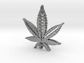 Marijuana Pendant in Natural Silver