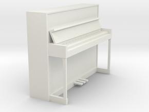 Miniature 1:24 Upright Piano in White Natural Versatile Plastic