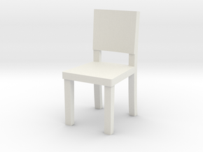 Miniature 1:48 Simple Chair in White Natural Versatile Plastic