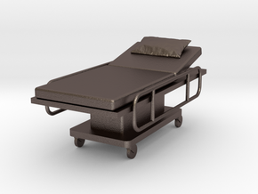 Miniature 1:24 Hospital Bed in Polished Bronzed-Silver Steel: 1:24