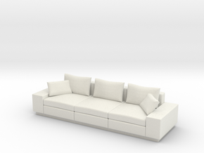 Miniature 1:24 Modern Sofa in White Strong & Flexible