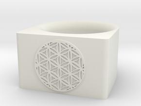 Sacred Flower Ring in White Natural Versatile Plastic