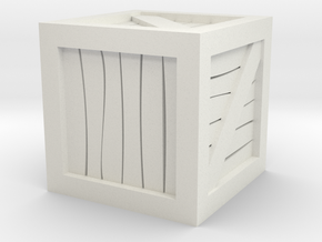"1""x1""x1"" Crate Tabletop Wargaming Miniature in White Natural Versatile Plastic"
