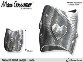 Armored Heart Bangle - Gode in Polished Bronzed Silver Steel