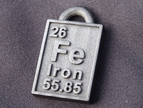 Iron Periodic Table Pendant in Polished Grey Steel