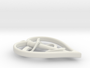 Staff of Asclepius in Heart Pendant in White Natural Versatile Plastic