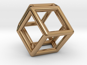 Rhombic Dodecahedron Pendant in Polished Brass