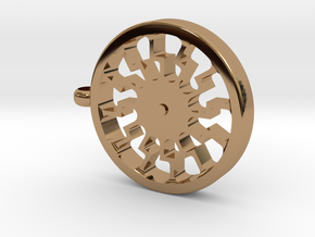 """Black Sun """"Gear"""" Pendant in Polished Brass"""