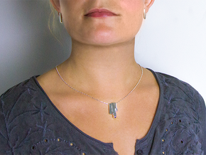 Crystal Necklace in Fine Detail Polished Silver