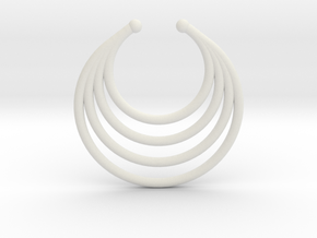 Faux Septum - Dropped Rings in White Natural Versatile Plastic