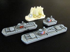 Military & Sailing ships (4 pcs) in White Strong & Flexible Polished