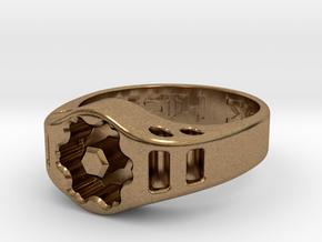 US14 Ring XIX: Tritium (Silver) in Natural Brass