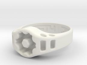 US14 Ring XIX: Tritium (Silver) in White Natural Versatile Plastic