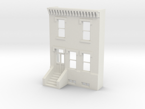 HO SCALE ROW HOME FRONT 2S  in White Natural Versatile Plastic