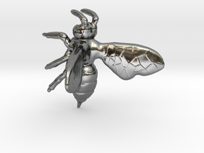 Bee in Fine Detail Polished Silver