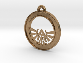 Tri-force Circle-pendant in Natural Brass