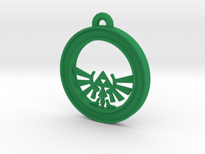 Tri-force Circle-pendant in Green Processed Versatile Plastic