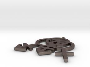 Transgender Triad Pendant in Polished Bronzed Silver Steel