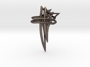 Hidden Heart Pendant in Polished Bronzed Silver Steel