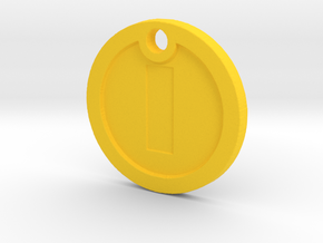 Super Mario Gold Coin Replica Necklace in Yellow Processed Versatile Plastic