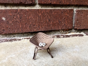 Diamond Wire Mesh Chair (1:24 Scale) in Polished Bronzed Silver Steel