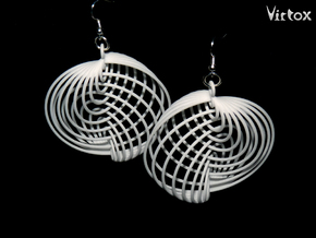 Running in Circles - Earrings in White Processed Versatile Plastic: Large
