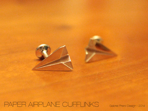 Paper Airplane Cufflinks in Polished Silver