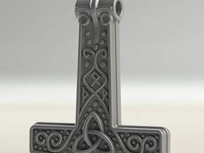 Thor hammer in Natural Silver