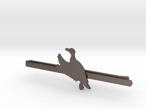 Duck 2 Tie Clip  in Polished Bronzed Silver Steel