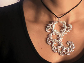 9cm Fractal lace, intricate spirals pendant in Polished Silver