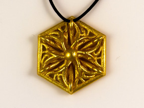 Hexagon Pendant in Polished Gold Steel