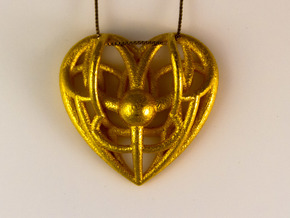Awakened Heart Pendant in Polished Gold Steel