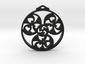 Triskele Pendant / Earring in Black Natural Versatile Plastic