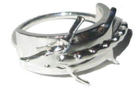 Fox Stole Ring - Sz. 9 in Fine Detail Polished Silver