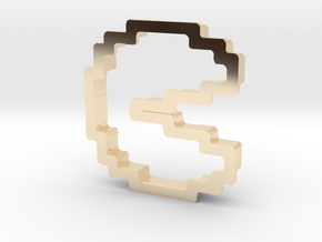 pixely pizza guy cookie cutter in 14K Yellow Gold