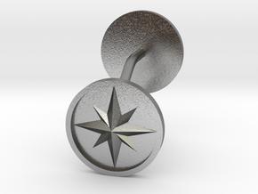 Compass cufflinks in Natural Silver