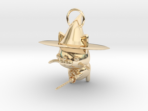 Magician of black cat in 14K Yellow Gold
