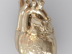 3D-Printed Anatomical Heart Pendant in Polished Gold Steel