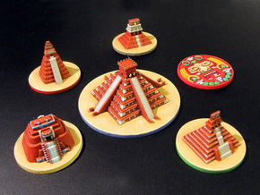 Mayan Pyramids and Calendar center (6 pcs) in White Strong & Flexible