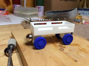 Flatbed car compatible with Thomas the Train woode in White Natural Versatile Plastic