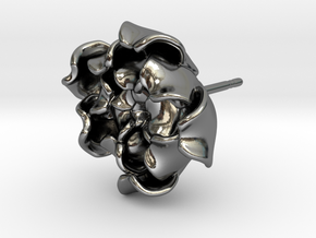 Rose Earring in Fine Detail Polished Silver