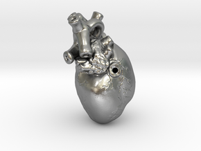 3D-Printed Anatomical Heart Pendant in Natural Silver