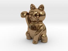 Manekineko luck with money pendant in Natural Brass