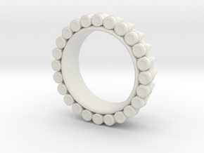 Bullet ring(size = USA 6.5-7) in White Natural Versatile Plastic