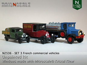 SET 3x Historic commercial vehicles (N 1:160) in Smooth Fine Detail Plastic