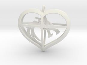 Dragon Heart in White Natural Versatile Plastic